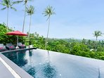 Stunning views from the 4 x 8 m infinity swimming pool
