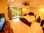 Master bedroom with king bed, direct access to the  terrace and private bathroom