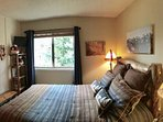 Queen Bedroom on Main Floor with Bath Next Door – Slopes View, New Furniture, Bedding, Drapes and Accessories 2016