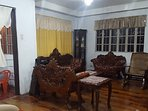 Living Area with Furnitures made of Narra wood. Flooring is made of polyurethane coated pine wood