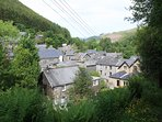 A view over the roof tops of Corris ..taken on the lane that leads up to King Arthur's Labrynth.