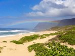 Polihale Rainbow. West end of the Na Pali coast.