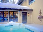 Soak in The Private Hot Tub on a Cold Day