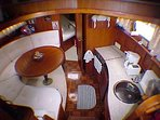 The classy Dinette and Galley is equipped with gas stove,  fridge, coffee&tea maker, toast etc
