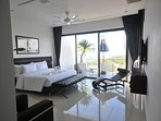 Each of our king size bed rooms have large windows and beautiful ocean views.