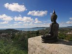 Outside the top bedroom sits this lone Buddha. It is a spectacular view to wake up to.