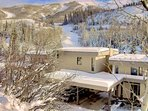 Storm Meadows Town Homes with Mt Werner Winter Backdrop