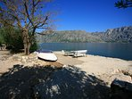 View from your punta (jetty) up to Perast. We have sun loungers you can use here.