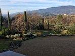 The same view, mid-winter - the Chateau de Lourmarin shines in the winter sun