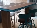 Repurposed table handcrafted by the owner of the flat