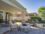 Outdoor Patio with Lounge Chairs, Fire Pit and Outdoor Dining