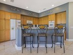 Large Custom Kitchen with Granite Tops and Bar Seating for 3