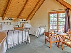 This bedroom, along with the master, features its own private deck.