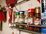 You have all the basic seasonings as well as Tea & Coffee, Olive Oil, Vinegar in your kitchen