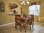 You can enjoy a meal at the formal dining table.