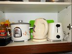 Auto Rice Cooker, Kettle and Toaster for. Also available are pots and pans and dining set for 4.
