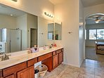 This large en-suite bathroom provides the utmost privacy and convenience