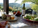 Dining al fresco with local produce and shaded views to the Corbieres hills.
