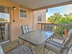 Bring refreshing beverages with you outside and watch gorgeous sunsets from the private deck, equipped with comfortable...