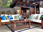 Great lounge space, kitchen opens up to outdoor patio