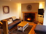 Lounge with wood burner, Smart and Sky TV
