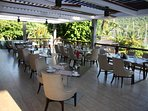 Open air dining area at The Grill restaurant