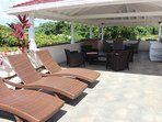 Roof terrace, sunbathing,shaded seating area and kitchenette