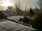 Winter in The Piggery is a delight! Frosty morning followed be lunch on the Terrace!