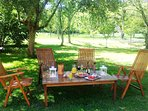 Aperitifs at the end of the day in the orchard