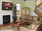 Top of the line 56' 4K HDTV, 100+ year old stained glass windows, gas fireplace, comfy seating