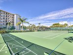 Tennis court and shuffle board.  Active tennis community during high season.