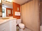 84'' tiled shower and 2nd sink prep area