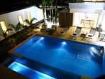 Pool lit up for nighttime swimming