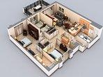 3d floor plan of the condo.