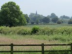The view over the meadow  towards St Michaels church Sutton on the hill.