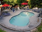 Mountain Shadows resort pool is open seasonally  a short drive from the cabin.