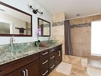 Large master bath/shower with walk in closet.