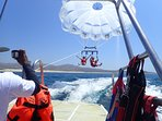 Parasailing right off the beach in front of Casa Dorada.