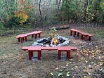 private yard with fire pit