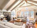 Main Living Room with French Doors that open to Deck and Magnificant Harbor Views