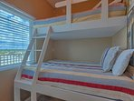 Bunk room with professionally built twin/double bunk beds. Sleeps 3 comfortably