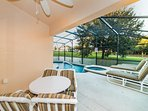 covered porch at pool area