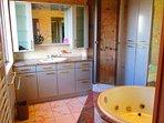 salle de bains avec douche et baignoire à remous