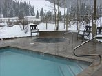 Heated pool and two hot tubs on site