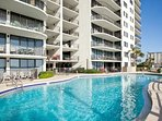 large gulf front pool, hot tubs,  poolside cafe