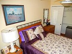 The Poppy Room comes with a comfy queen bed, ceiling fan, mini fridge, dresser/vanity mirror . . .