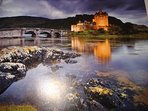 Twilight at EILEAN DONAN CASTLE   500 metres away