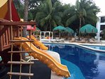 Children's pool,play area and restaurant  on other side of resort.