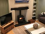 Smart TV and wood burner