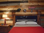 Master bedroom with headboard made from tailgate.